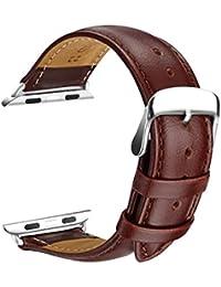 Correa Apple Watch 42mm, SOWTECH 42mm Banda de Reloj de Reemplazo Correa de Cuero de Piel con Hebilla Moderna Metálica para iWatch & Deporte& Edición Todos los Modelos(42mm-Marrón)