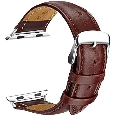 Apple Watch Correa, SOWTECH(TM)42mm Banda de Reloj de Reemplazo Correa de Cuero de Piel con Hebilla Moderna Metálica para iWatch & Deporte& Edición Todos los Modelos(42mm-Marrón)