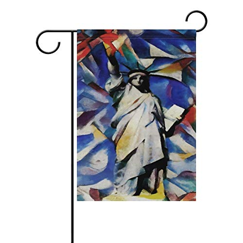 ASKYE 4th of July Long Polyester Garden Flag Double Sided, Statue of Liberty Decorative Yard Flag for Wedding Party Home Decor(Size: 12.5inch W X 18 inch H) -
