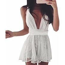 QIYUN.Z Vestido Cruz Blanca Tunica De Encaje Sin Espalda Vendaje Mujeres Playa Escotada V Cuello