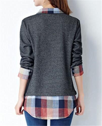 Tayaho Blouses Manches Longues Femmes T-Shirt Patchwork Couture Chemisiers Classique Basique Blouses Vintage ElÉGant Chemise University Loose Tops Décontractée Gray1