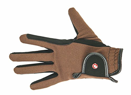 HKM Damen Reithandschuh-Professional Nubuk Lederimitat Handschuhe, Schwarz/Braun, S