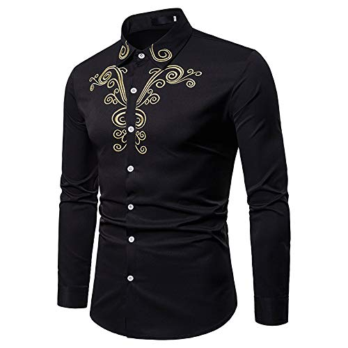 Yazidan Herbst Winter Luxus Casual Gold Stickerei Langarm Shirt Top Bluse Hemd-Für Anzug, Business, Hochzeit, Freizeit-Langarm Hemden für Männer Slim-Fit - Bügelleicht - Für Anzug, Business -