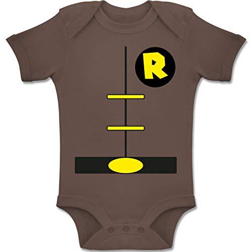 Shirtracer Karneval und Fasching Baby - Superheld Kostüm Kind - 6-12 Monate - Braun - BZ10 - Baby Body Kurzarm Jungen (Baby Superheld Kostüm)