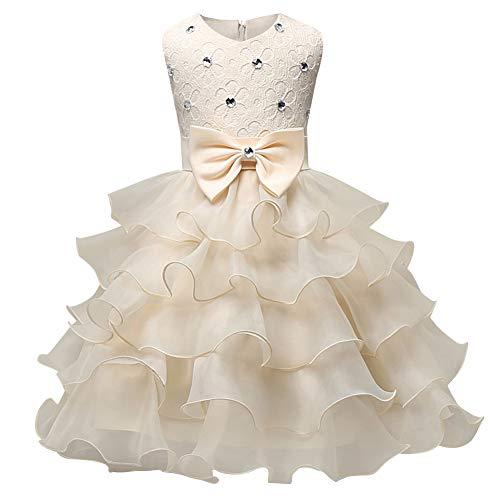 Mädchen Kleider Prinzessin Festkleid Geburtstag Hochzeit Röck Party Cosplay Blumenmädchen Tüll-Kleid Fasching Kinder Bogenrock-Beige-70cm