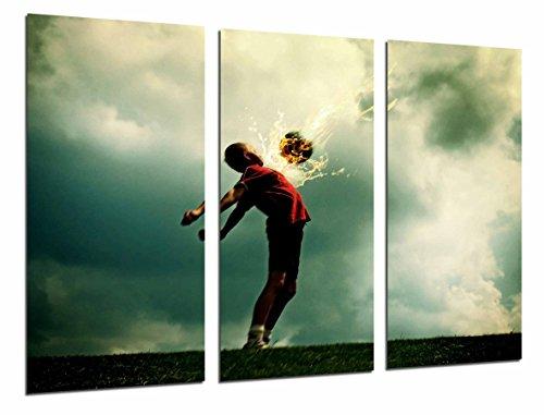 Cuadro Moderno Fotografico Deportes, Niño jugando al Futbol, Balon de Fuego, 97 x 63 cm, ref. 26818