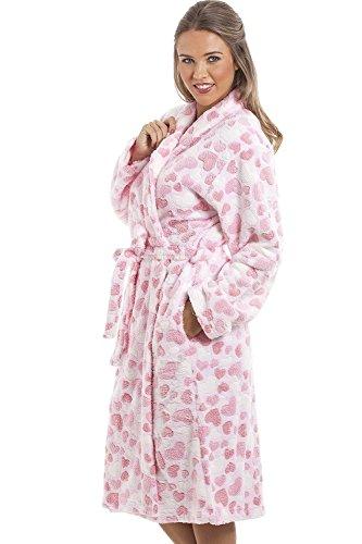 Camille - Damen Bademantel aus superweichem Fleecematerial - Pink mit Herzmuste Pink