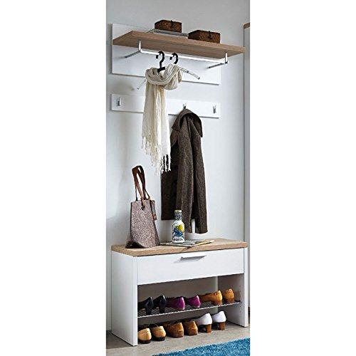 Lomadox Garderoben Set Flurgarderobe Flurmöbel Garderobe weiß, Sonoma Eiche, Schuhbank und Garderobenpaneele, B x H x T: ca. 76 x 200 x 37 cm
