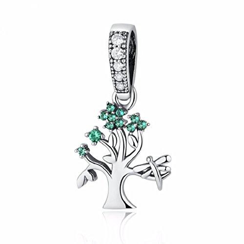 Argento sterling 925featherwish family heritage a forma di albero della vita, pendente con zirconi per braccialetti pandora