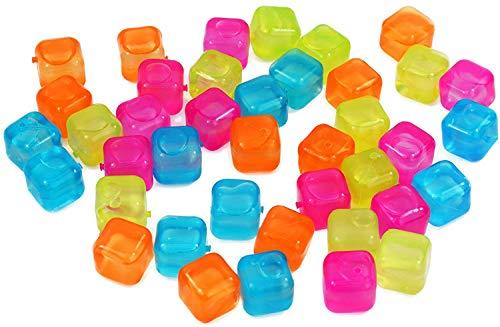 My-goodbuy24 Wiederverwendbare Eiswürfel bunt - 40 Stück, Eiswürfelform Party-Eiswürfel Kunststoff Dauereiswürfel