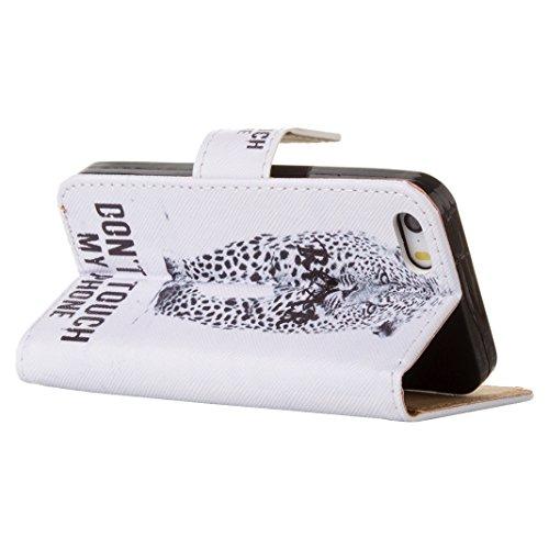 HuaForCity® Case Custodia in Pelle per iPhone 5/5s/SE Cassa DellUnità di Elaborazione del Cuoio del Raccoglitore di Vibrazione Smart Stand Caso Della Copertura del Telefono Tablet Copertina Modello T Cheetah