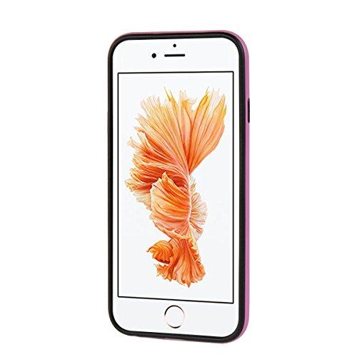 "MOONCASE iPhone 6/iPhone 6s Hülle, Hybrid Rugged Dual Layer Schutz Case Drop Resistance TPU Bumper Kippständer Handyhülle für iPhone 6/iPhone 6s 4.7"" Rote Rosa"