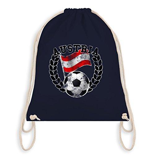 Shirtracer Fußball - Austria Flagge & Fußball Vintage - Unisize - Navy Blau - WM110 - Turnbeutel & Gym Bag