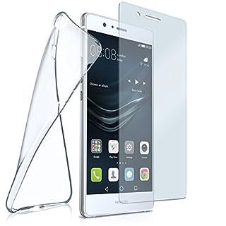 moex Silikon-Hülle für Huawei P9 Lite | + Panzerglas Set [360 Grad] Glas Schutz-Folie mit Back-Cover Transparent Handy-Hülle Huawei P9 Lite / G9 / G9 Lite Case Slim Schutzhülle Panzerfolie