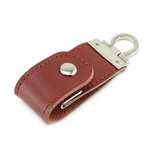 16gb Luxus Leder Optik Schlüsselanhänger Usb Stick sehr schönes Praktisches Geschenk (Brown)