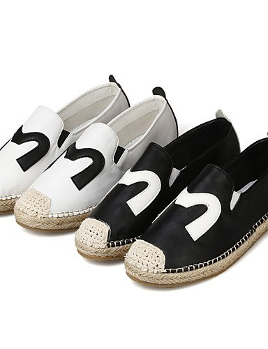 ZQ Scarpe Donna - Mocassini - Formale / Casual - Comoda / Punta arrotondata - Piatto - Lino / Finta pelle - Nero / Bianco , black-us8 / eu39 / uk6 / cn39 , black-us8 / eu39 / uk6 / cn39 black-us6 / eu36 / uk4 / cn36