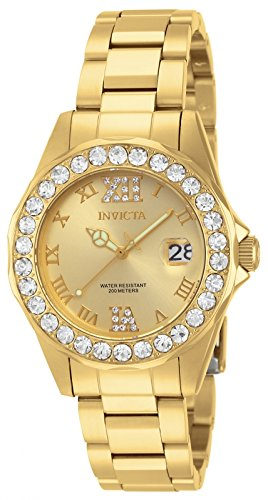 INVICTA Women's Quartz Watch with Gold Dial Analogue Display and Gold Stainless Steel Gold Plated Bracelet 15252