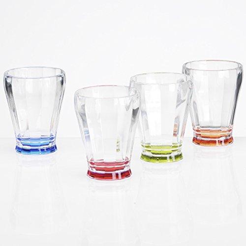 Siehe Beschreibung Buntes Acryl Trinkglas 220ml, 4 Stück, Stapelbar, Gläser Trink Glas Kunststoff Camping Zubehör Acrylglas Partyglas Wasserglas Bruchfest Trinkbecher Becher Whiskyglas Whiskey