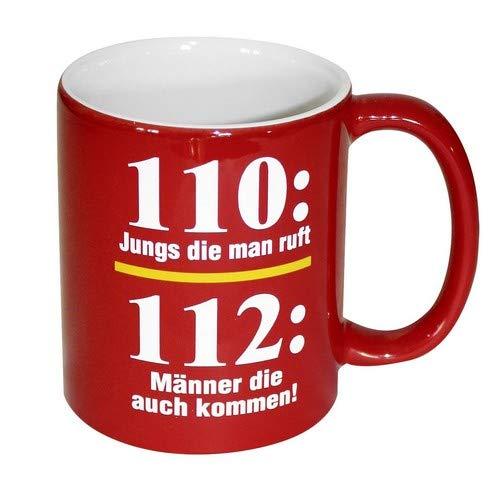 Close Up Feuerwehr Tasse 110 vs 112-110: Jungs die Man Ruft / 112: Männer die auch kommen! 100{38df5765c72e8e8520b9579774b309d1d3e7976e2c6eb739da0a9b3446292dfe} Keramik, rot, Füllmenge ca. 320 ml