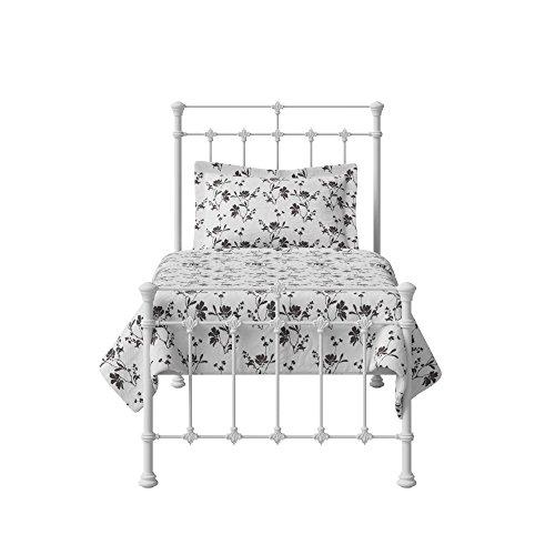 The Original Bed Co. Cama de Metal Edwardian Marco de Cama de Hierro con Listones de Madera Maciza 90 x 190 cm Satén Blanco