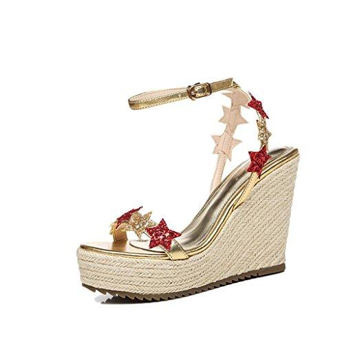 BaiLing Damen Sommer Sandalen / Wedge Ferse handgefertigte gestrickte Stroh wasserdicht / Sequins dicke Boden / kleine Größe Schuhe Gold