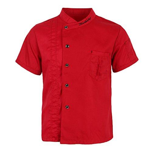 P Prettyia Atmungsaktive Kurzarm Kochjacke Backjacke Kochkleidung Koch Gastronomie Berufsbekleidung Arbeitskleidung für Restaurant Gastronomie - Rot, 2XL - 3