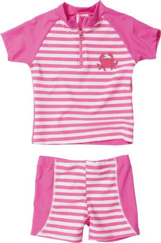 Playshoes Baby - Mädchen Schwimmbekleidung, gestreift 460102 2 tlg. Bade-Set (T-Shirt und Badeshorty) Krebs von Playshoes mit UV-Schutz nach Standard 801 und Oeko-Tex Standard 100, Gr. 110/116, Mehrfarbig (900 original)