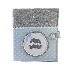 Babytagebuch, Babyalbum DIN A5, Häschen, Buben, Geschenk zur Geburt, Baby, Erinnerungsalbum,