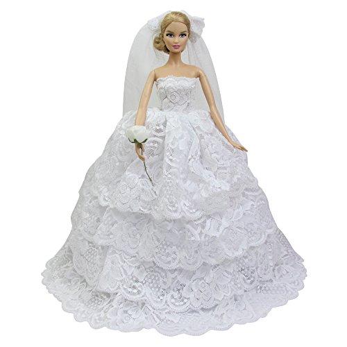 ZITA ELEMENT Spitze Brautkleid Kleidung für Barbie Puppen Kleider Hochzeitskleid Ballkleid...
