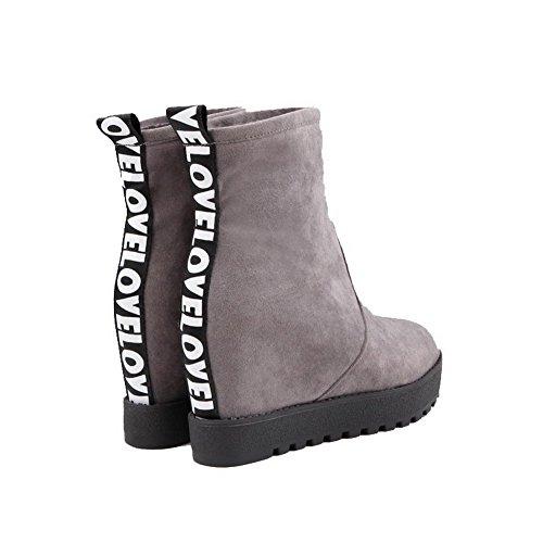 Rotondo Grigi Tacco Stivali Di Cuoio Di Voguezone009 Hanno Colore Solido Alto Trae Donna q14TAw