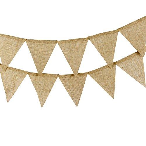 G2PLUS 13 Stk Leinen Wimpelketten, Rustikale Wimpel Garlande, Hessischen Wimpeln für Hochzeit Dekoration (Diy-bunting)