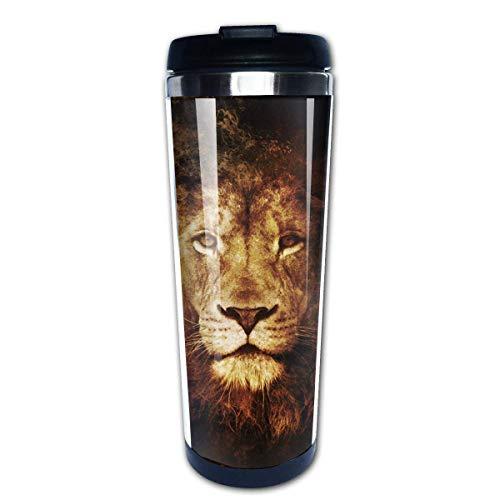 Animal King Series Lion (10) 14oz Isolierter Edelstahl-Reise- und Campingbecher mit spritzwassergeschütztem Deckel