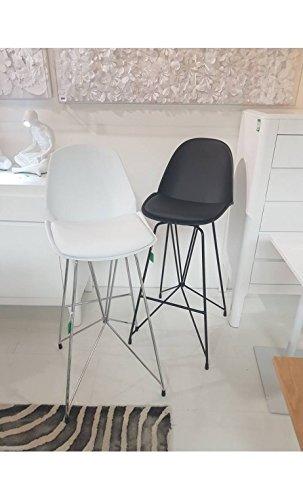 Kare design - Chaise de bar simili cuir noir WIRE