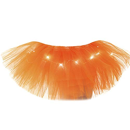 TIFIY Damen Tüllrock Mode 5 Schichten Ballettrock Mit LED Kleine Lampe Party Abend Tutu Rock Solide Unterrock Netzrock Elegant Petticoat(Orange,One Size