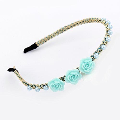 AWAYTR Fille / Femmes Bijoux Diamant Fleurs Brillant Perle Perlé Bandeaux 4Pcs Set Fleur&Perle Éclat Bandeaux