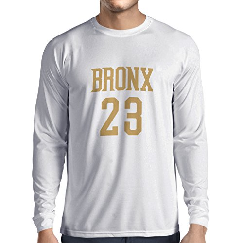 Langarm Herren t shirts Bronx 23 - Street Style Mode (Large Weiß Gold)