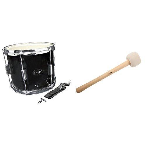 Basix Street Percussion Marching Drum + XDrum MBD1-H Marsch Schlägel für große Trommel hart (Drumschlägel, Trommelstock, Konzertschlägel für große Trommel, Länge: 32cm, Kopfdurchmesser: 6,5cm) Bundle