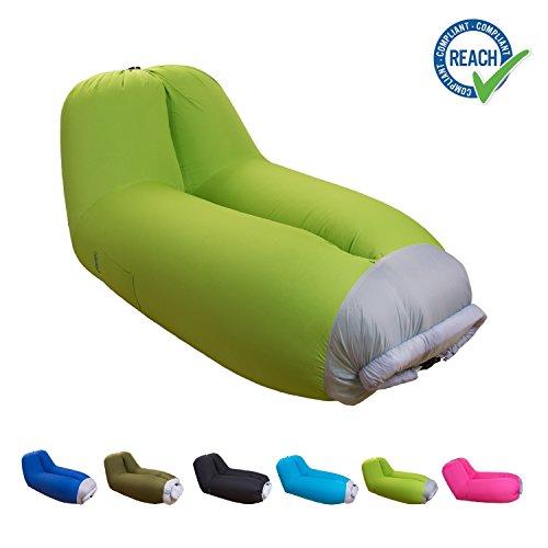 eGuenuss® Aufblasbare Liege aufblasbares Sofa mit integrierter Rückenlehne / Kissen tragbare Luftliege Luftsofa wasserdicht mit Tragetasche Reisen Camping Lime