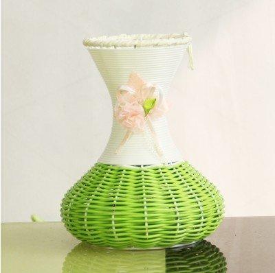 Rattan Cane Iron Flower Flowerpot Handmade Flower Flower Basket Long Neck Big Belly