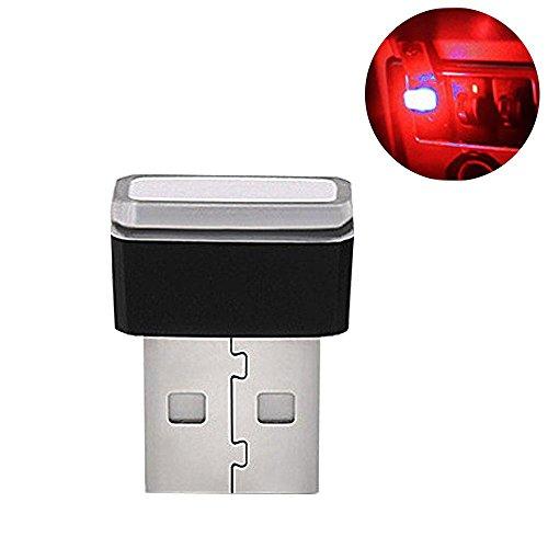 1 Pezzi USB Car Interior Ambient Lampade a Led,Auto Luci Interne Atmosfera Luce Decorativa USB Illuminazione,Mini USB Interni Auto Luce Led Universale Per Auto Notebook Power Bank (Red Light)