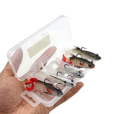 LIOOBO 5pcs Fishing Lure Set Soft Fishing Lure Hard Metal Lure Tackle Pack with Tackle Box for Saltwater or Freshwater by LIOOBO