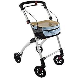 Days déambulateur d'intérieur à 4 roues, comprend panier et plateau, aide à la marche, rollator 4 roues, pour personnes âgées, handicapées, aide à la marche