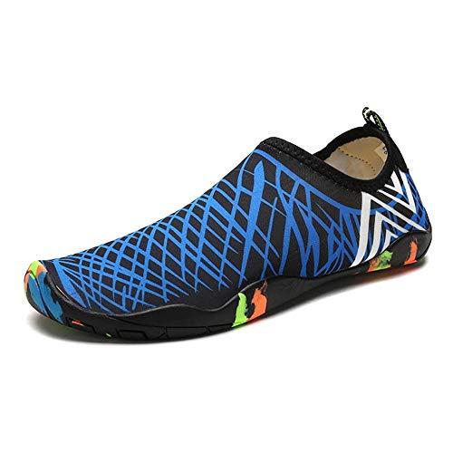KUVV Unisex-Schwimmen im Freien/Aufwärts/Haut/Strand/Tauchen/Geschwindigkeitsstörung Wasser/Surf-Socken/Sand amphibisch/Anti-Korallen-Fitness-Laufschuhe (blau gestreifte Schwarze Unter