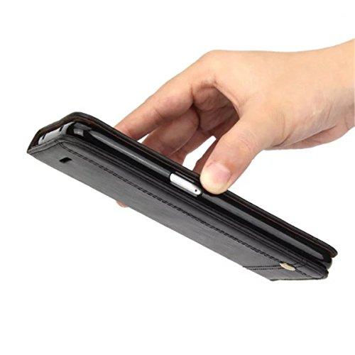 iPhone 7 Plus Coque, Apple iPhone 7 Plus Coque, Lifeturt [ Rouge ] [book-style] Flip Case Coque en PU Cuir Housse de Protection Étui à rabat Case Cover Ultra Slim Portefeuille PU Cuir avec stand de Ca E02-Noir4663