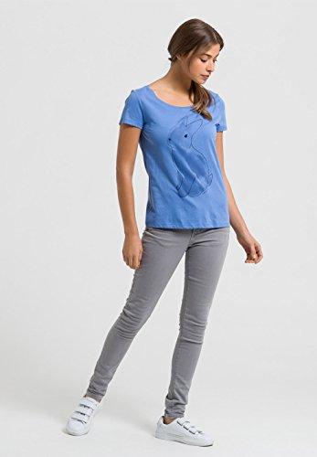 ARMEDANGELS Damen Print T-Shirt aus Bio-Baumwolle - Mari Rabbit - GOTS, ORGANIC, CERES-008 Blau
