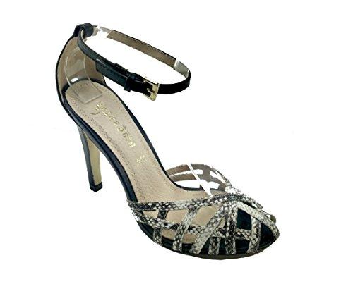 Sandali donna casual / eleganti glitterati in ecopelle cinturino caviglia MG700 STAMPATO NERO/BIANCO