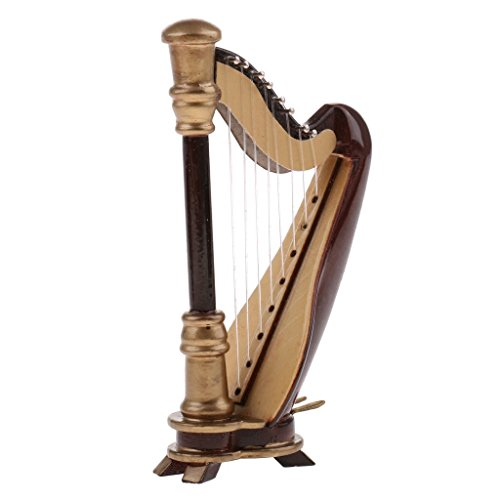 sgerste Puppenhaus Miniatur Harfe Vintage Musikinstrumente für 1/12Musik Raum