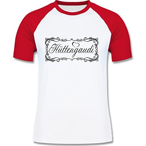 Après Ski - Hüttengaudi Vintage verspielt - zweifarbiges Baseballshirt für Männer Weiß/Rot