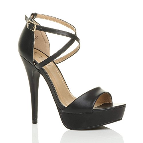 Ajvani donna tacco alto fibbia cinturini incrociati scarpe punta aperta sandali numero 4 37