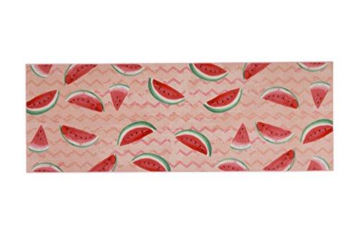 Aminata Home – Teppichläufer Rosa Wassermelone á 180x62 cm | Teppich für Flur Küche Wohnzimmer etc. | Polyamid Kurzfloor rutschhemmend waschbar | Küchenläufer Pink Frucht Obst Flurläufer Küchenteppich